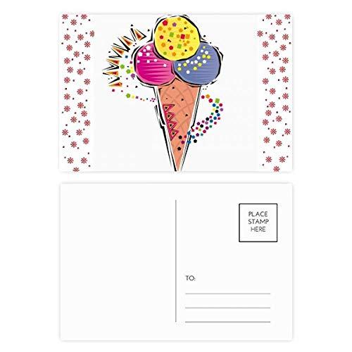 Rood Geel Blauw IJs Bal Element Illustratie Kerstmis Bloem Postkaart Thanks Card Mailing 20 stks