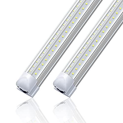 LED Shop Light 2FT 20W,Monios-L Linkable Utility Ceiling Lights,V-Shaped 2500lm 5000K Daylight,T8 Integrated Fixtures LEDs Tubes, Garage Lighting for Workshop,Work Bench,Basement,Plug & Play 2-Pack