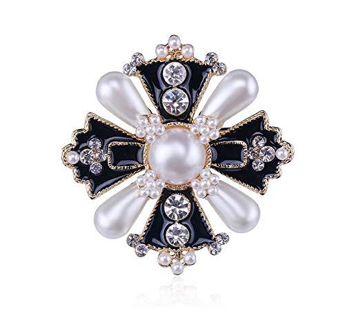 Broche de acero en forma de cruz, negro y dorado, perlas nacaradas.