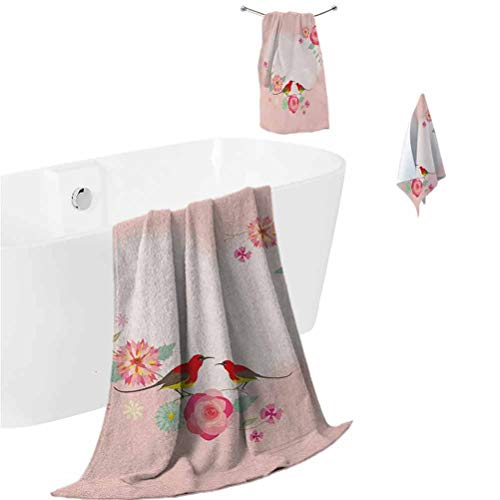Flowers Beach Towel Set Valentines Day Concept Pale Heart Shapes with Cute Birds and Floral Ornaments Shower Hand Face Washcloths Blush Multicolor