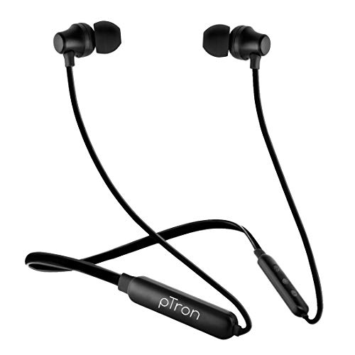 pTron Tangent Lite Bluetooth 5.0 Wireless Headphones with Hi-Fi Stereo Sound, 6Hrs Playtime, Lightweight Ergonomic Neckband, Sweat-Resistant Magnetic Earbuds, Voice Assistant & Mic - (Black)