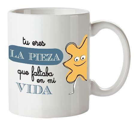 Kembilove Tazas de Desayuno para Parejas – Taza de Café con Frase Divertida y Graciosa para Enamorados Tu Eres la Pieza Que faltaba en mi Vida – Tazas para Regalar el día de los Enamorados