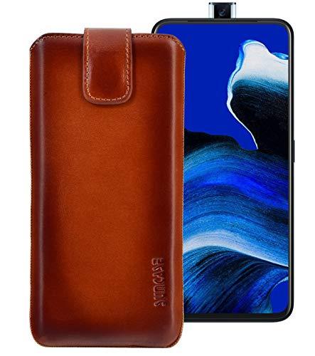 Suncase Echt Ledertasche kompatibel mit Oppo Reno 2 Z Tasche *Slim-Edition* Leder Etui (mit Rückzugsfunktion und Magnetverschluss) in Burned Cognac