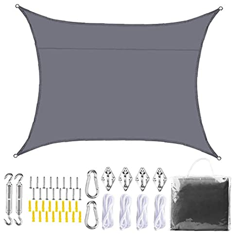 Yililay La Cortina de Sun Sail Jardín protección UV Impermeable Toldo Toldo con Hardware Kit de 3x2m Gris