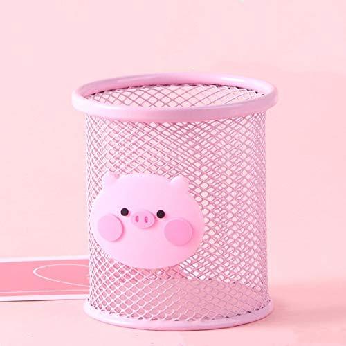GYW-YW Herramientas de Oficina de Color Rosa Lindo Pluma de arrabio organizadas cepillos cosméticos cupholder Caja de lápices de Suministros de contenedores de Oficina (Color : Round)
