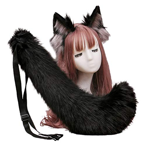 Leiouser - Diadema de piel sinttica con orejas de lobo y pelo de cola larga para Halloween, fiesta, anime, Lolita, disfraz, accesorios de disfraz
