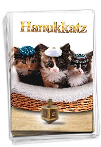NobleWorks - 12 Happy Hanukkah Cards Boxed (1 Design, 12 Cards) - Funny Religious Chanukkah Notecard Set, Bulk Holiday Greetings - Box of Hanukkatz Christmas B5939