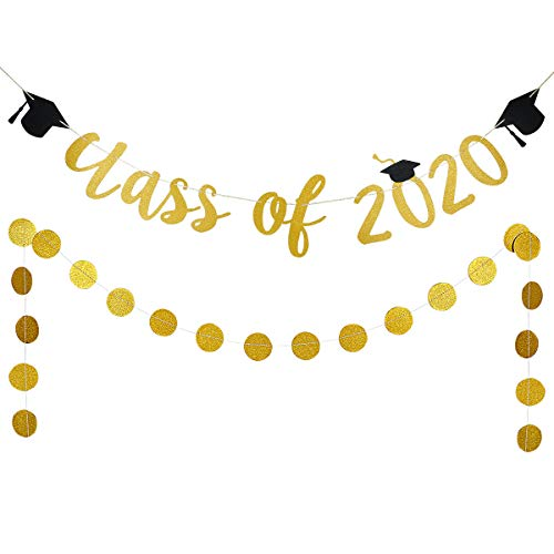 Gold Glittery Class Of 2020 Banner and Gold Glittery Circle Dots Garland- 2020 Graduation Party Decorations,Class of 2020 Graduation High School Graduation College Grad Party Decorations Supplies