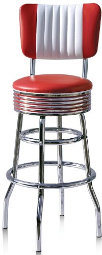Bel Air Barhocker 2-er Set Gastronomie Barstuhl Hocker Bar Stuhl 50\'s Designerbarhocker Diner Hochstuhl (Red/White)
