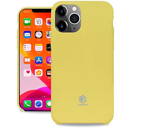Evutec Karbon Silicone Case Compatible with iPhone 11 Pro, Ultra Thin & Protective Shockproof Drop Protection Soft Cover 5.8 Inch (Yellow)