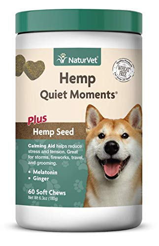 NaturVet – Hemp Quiet Moments Calming Aid for Dogs - Plus Hemp Seed – Helps Reduce Stress & Promote Relaxation – Great for Storms, Fireworks, Separation, Travel & Grooming – 60 Soft Chews