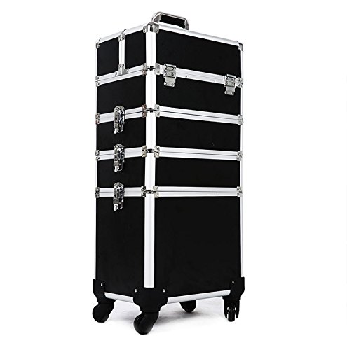 Hul 4-in-1 Professional Rolling Makeup Trolley Case Cosmetic Train Box