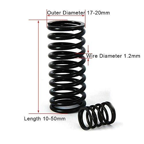 NO LOGO L-Yune, 10PCS hohe elastische Schwärzung Frühling Manganstahl Druckfederstahldraht-Durchmesser 1,2 mm Außen-Ø 16mm Länge 10-50mm (Größe : 1.2x16x15mm)