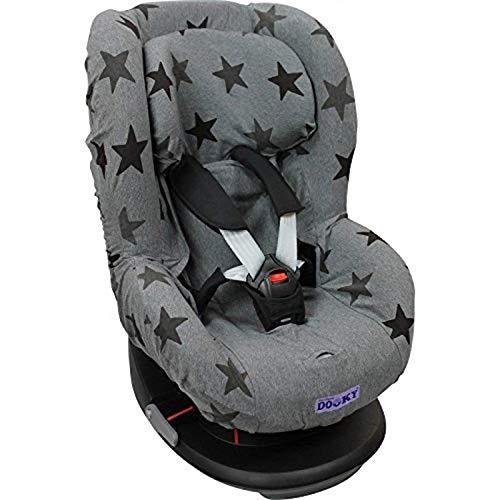Original Dooky Grey Stars Sitzbezug für Kindersitz universale Passform für viele gängige Modelle Altersgruppe 1+ 9 - 18kg für 3 und 5 Punkt Gurtsystem, grau