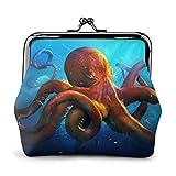Ocean Animal Octopus Printed Women 'S Cartera Monedero de Cuero Kiss-Lock Travel Maquillaje Carteras