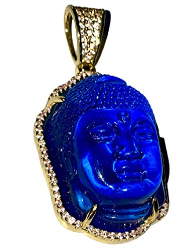 Iced Guanyin Tathagata Buddha Blue Jade Pendant Necklace Rope Chain Genuine Certified Grade A Jadeite Jade Hand Crafted, Jade Necklace, 14k Gold Filled Laughing Jade Buddha Necklace, Jade Medallion, Fast Prime Shipping, Blue Iced Buddha Rope Chain Necklace 18'