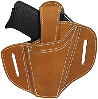Barsony New Ambidextrous Tan Leather Pancake Holster for 380 Ultra Compact 9mm 40 45