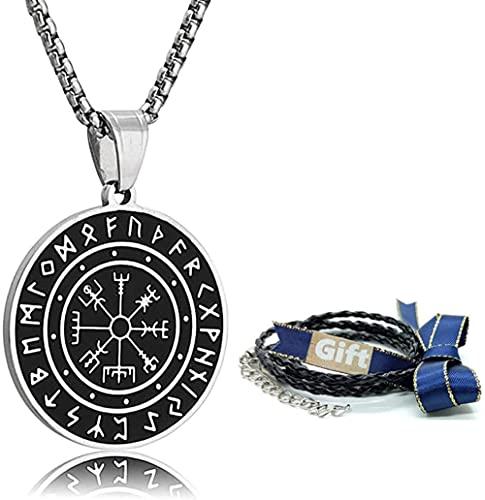 Collar vikingo 316L Acero inoxidable Norse Runes Vegvisir Colgante Celtic Pagan Compass Compass Collar de amuleto Joyería para hombres