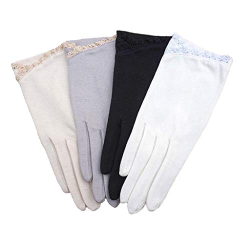 guanti pelle estivi HX fashion Guanti Da Sole Estivi In Cotone Da Donna Chic Che Guidano Guanti Antiscivolo Guanti Eleganti In Pizzo Con Motivo Corto (Colore: Beige) Ragazza (Color : Nero