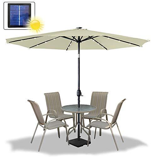 UISEBRT 300cm Sonnenschirm Alu Neigbar mit Handkurbel UV Schutz 40+ und Solar LED Warmweiß - Gartenschirm Terrassenschirm Marktschirm für Balkon, Garten, Terrasse (300cm mit LED, Beige)