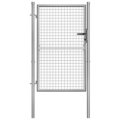 vidaXL Puerta de jardín de acero galvanizado plateado 105x1
