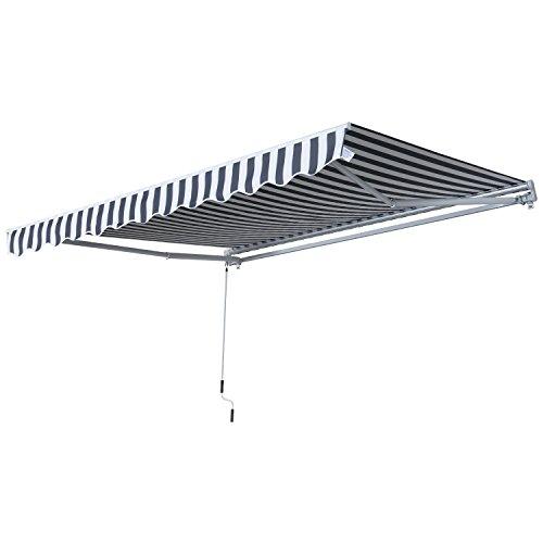 Outsunny Markise Gelenkarmmarkise Sonnenschutz Handkurbel Balkon Alu Grau+Weiß 2,95x2,45m