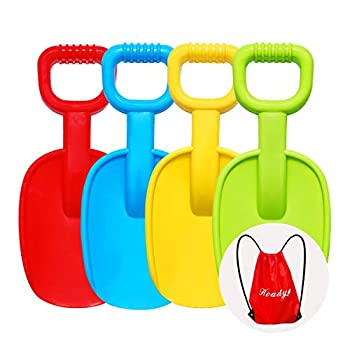 Holady Beach Shovels - 14 Inch Beach Shovels for Kids Heavy Duty Plastic Assorted Colors Scoop Shovel Toys with Handle for Digging Sand and Beach Fun Gift Set Bundle 4 Pack