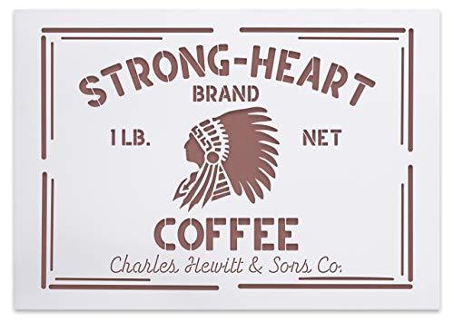 Amerikanische Vintage Kaffee Schablone Strong-Heart