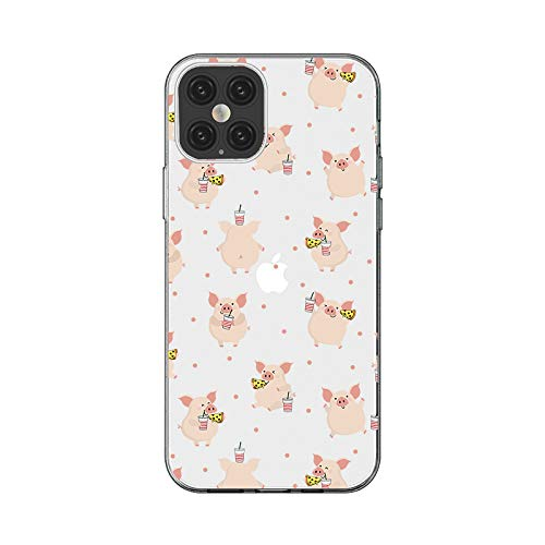 iPhone 12 Pro Max (6.7 inch) Case,Blingy's Fun Animal Style Transparent Clear Soft TPU Protective Case Compatible for iPhone 12 Pro Max 6.7' 2020 Release (Junk Food Pig)
