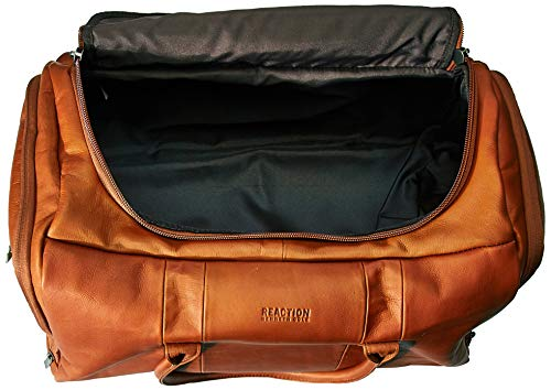 Kenneth Cole Reaction Duff Guy Colombian Leather 20' Single Compartment Top Load Travel Duffel Bag, Cognac