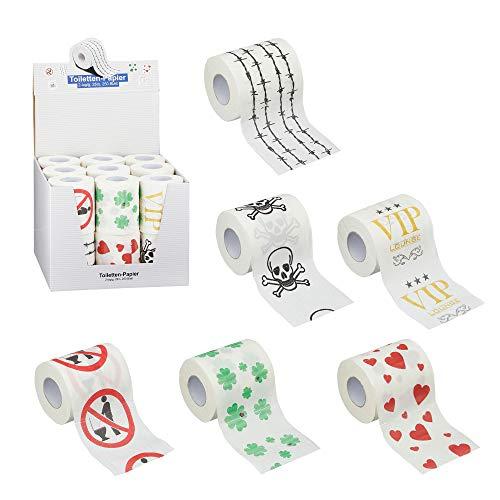 18 x Toilettenpapier Rollen Toilette mit verschiedenen Motiven 25 m 250 Blatt zweilagig (18 x Toilettenpapier Motive)