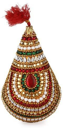 DEVIKA MATKI Kalash SAMVAYU Exquisite Embroidered Pearl & Stones Studded Pooja Item,Novel Gift IDEA for Wedding,Gifting,ganpati,Navratri n All Festive Occasions DR9A