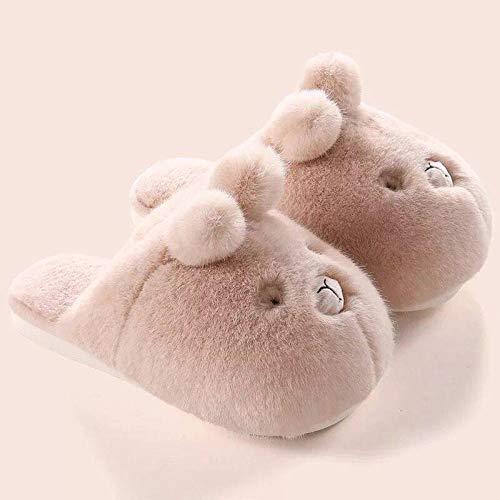 B/H girls slipper socks size 12-3,Cartoon cat's claw cotton slippers,winter plush cotton shoes for men and women-Beige_UK6-UK6.5,Memory foam slippers