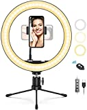 12' Ring Light with Tripod Stand & Cell Phone Holder,Miracase 3 Light Modes & 10 Brightness Level Dimmable Desk Makeup Ring Light for YouTube Video/Live Stream/Makeup/Photography