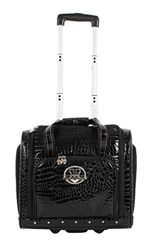 Kathy Van Zeeland Croco PVC Designer Underseat Luggage - 15 Inch Carry On Suitcase for Women- Lightweight Under Seat Bag with 2-Rolling Spinner Wheels (Black)