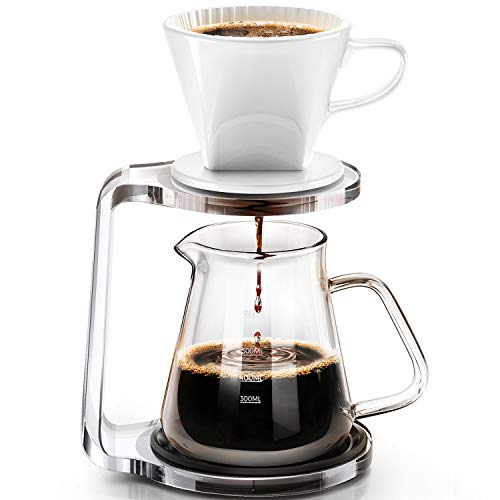 Pour Over Coffee Maker Starter Set with Dripper - Includes Ceramic Dripper,Non-slip bracket and pour over coffee pot(600ml/ 20oz)