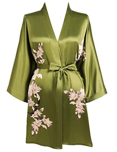 BABEYOND Damen Morgenmantel Blumen Gedruckt Sommer Bademantel Kimono Kurz Robe Leicht Schlafmantel Damen Satin Strandkleid (Grün)