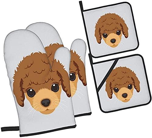 Funny Dog Puppy Poodle Horno Mitones y agarraderas Juego de 4 piezas, soporte profesional a prueba de agua para ollas y guantes para hornear