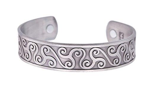Viking Celtic Symbol Irish Knotwork Triskele Triskelion Pattern Magnetic Therapy Bangle Bracelet for Men Women (Antique Silver)
