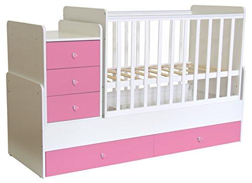 Polini Kids mitwachsendes Kombi-Kinderbett Gitterbett Babybett mit integrierter Wickelkommode und Wippfunktion: 60 x 120 cm oder 60 x 170 cm Matratzenmaß. Aus Birkenholz und MFC-Spannplatte. Weiß-Rosa