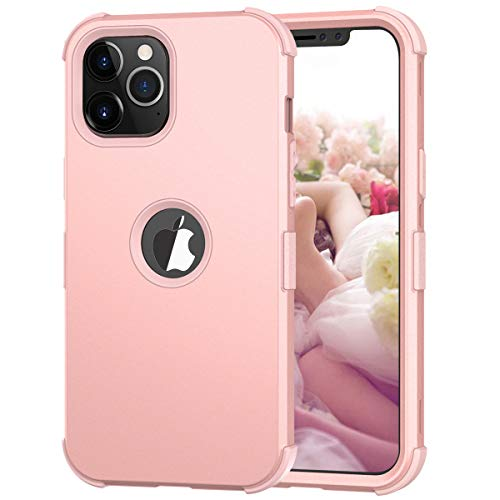 Hocase iPhone 12 Case, iPhone 12 Pro Case, 3-in-1 Hybrid Soft Silicone Rubber Hard PC Heavy Duty Shockproof Rugged Anti-Slip Bumper Protective Case for iPhone 12/12 Pro (6.1' Display) 2020 - Rose Gold