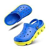 Zuecos Niño Playa Piscina Sandalias Niña Goma Zapatillas Casa Verano Zapatos Mules Jardin Clogs Plástico Ducha Cerrados F Azul y Amarillo 28 EU