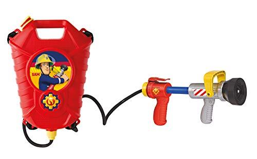 Simba  109252293 - Feuerwehrmann Sam Feuerwehr Tankrucksack, mit Einfach oder Mehrfachstrahl, Tankvolumen: 1800ml, Reichweite: 10m, für Kinder ab 3 Jahren