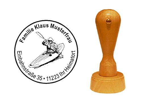 Stempel houten stempel motiefstempel « KANU » met persoonlijk adres - kajak boot peddelen sport