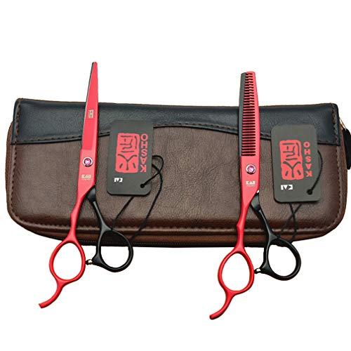 LIUOOWEI Haarschere Set 6 Zoll Linkshänder Friseurschere scharfe Effilierscheren Perfekter Haarschnitt rostfrei für für Salonfriseur und Familiengebrauch,Rot