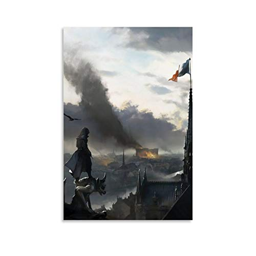DRAGON VINES Assassin's Creed Unity Arno Dorian Francia Bandera de París Revolución Impresión sobre lienzo enmarcado Impresión en lienzo artístico para sala de estar, oficina en casa, 40 x 60 cm
