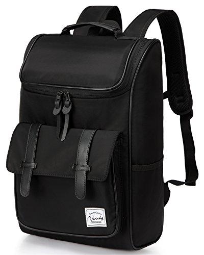 Vaschy Backpack Men Vintage Backpack Water-Resistant School Backpack Travel Backpack for 15.6 Inch Laptop Daypack -Black