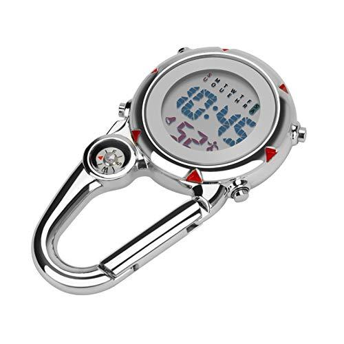 Aceshop Unisex-Uhr, Karabiner-Armbanduhr Digitale Uhr zum Anklippen mit Kompass, Karabiner und Leuchtendem Zifferblatt FOB Uhr für Ärzte, Krankenschwestern oder Kletteraktivitäten im Freien(Rot)