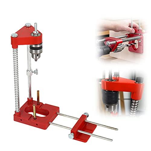 Perforadora ajustable Locator, mini taladro de mesa de alta velocidad, la mejor taladradora de carpintería ajustable en el año 2021. Herramienta de posicionamiento para muebles (rojo)
