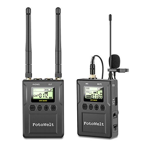 50 Canales UHF Sistema de Micrófono Lavalier Inalámbrico Video Cámara...